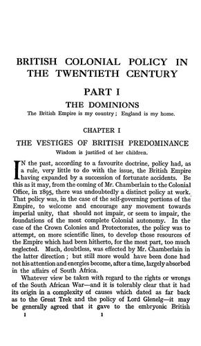 British colonial policy in the XXth century