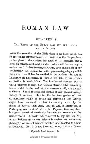 Historical introduction to the Roman Law