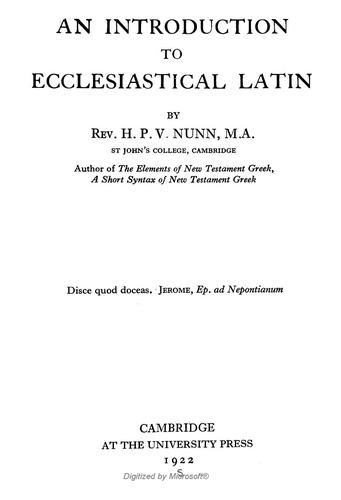 Download An introduction to ecclesiastical Latin