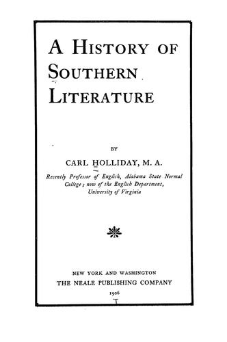Download A history of Southern literature