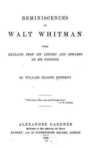 Download Reminiscences of Walt Whitman