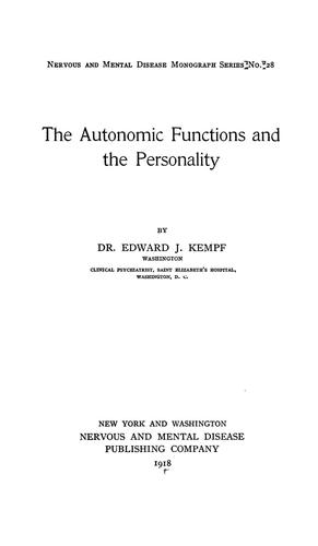 Download The autonomic functions and the personality