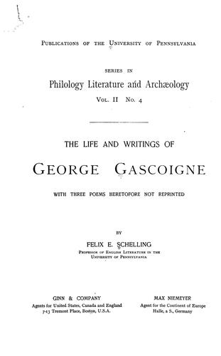 Download The life and writings of George Gascoigne