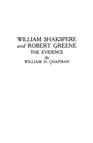 William Shakspere and Robert Greene