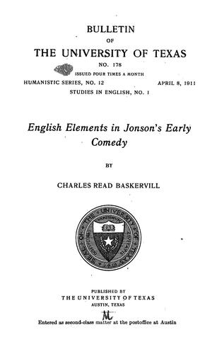Download English elements in Jonson's early comedy