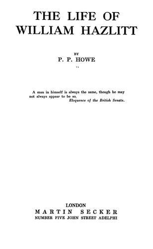 The life of William Hazlitt