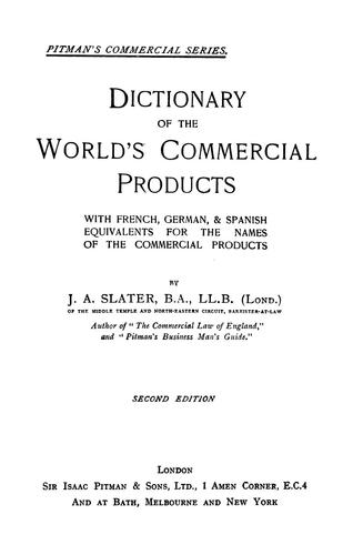 Download Dictionary of the world's commercial products