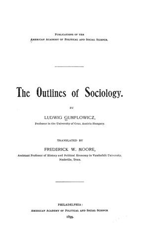 The outlines of sociology.