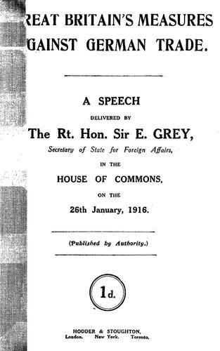 Download Great Britain's measures against German trade.