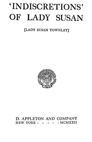 Download Indiscretions' of Lady Susan Lady Susan Townley