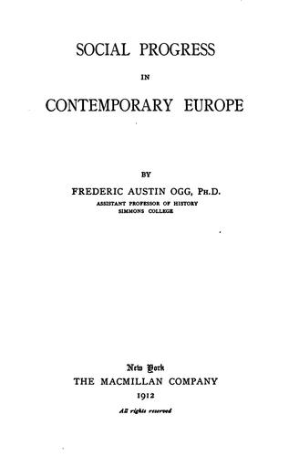 Download Social progress in contemporary Europe