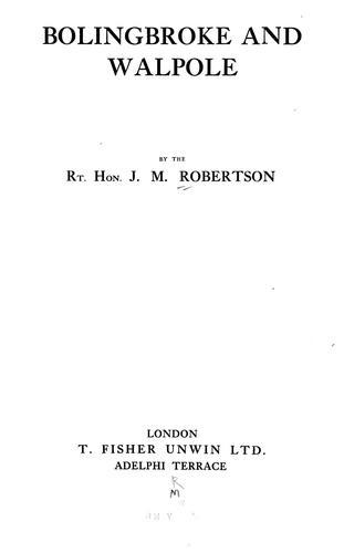 Bolingbroke and Walpole