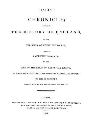 Download Hall's chronicle