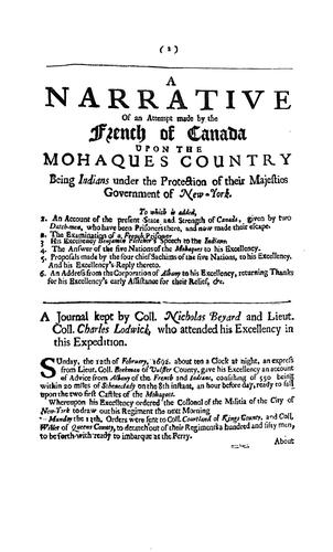 A narrative of an attempt made by the French of Canada upon the Mohaques̓ country