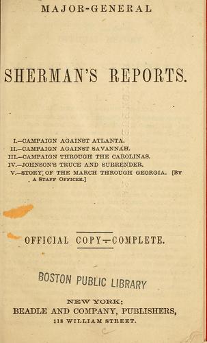 Major-General Sherman's reports