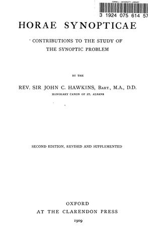 Horae synopticae by Hawkins, John C. Sir