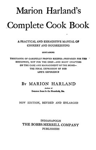 Download Marion Harland's complete cook book