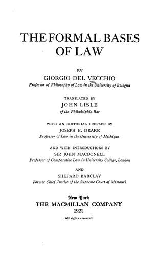 Download The formal bases of law