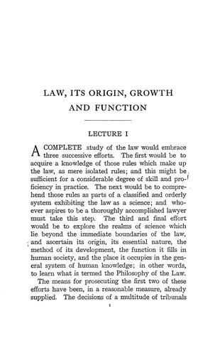 Law, its origin, growth and function