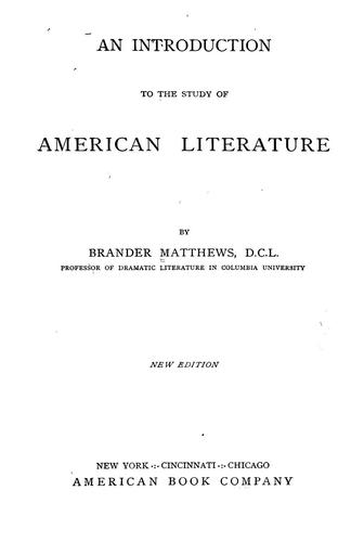 Download An introduction to the study of American literature