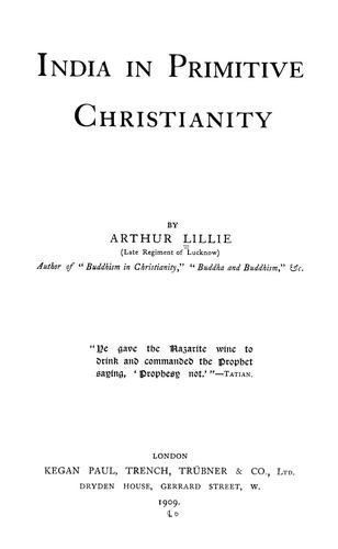 Download India in primitive Christianity.
