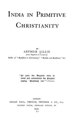 India in primitive Christianity.