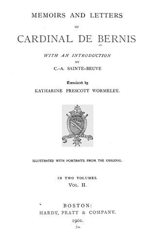 Memoirs and letters of Cardinal de Bernis