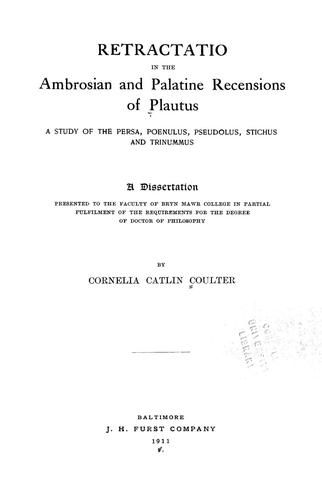 Retractatio in the Ambrosian and Palatine recensions of Plautus