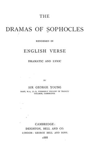 Download The dramas of Sophocles rendered in English verse, dramatic and lyric