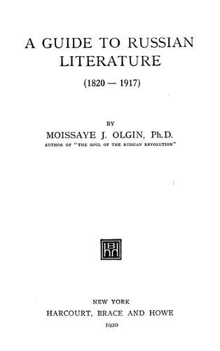 Download A guide to Russian literature (1820-1917)