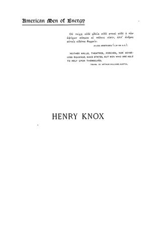 Henry Knox, a soldier of the Revolution