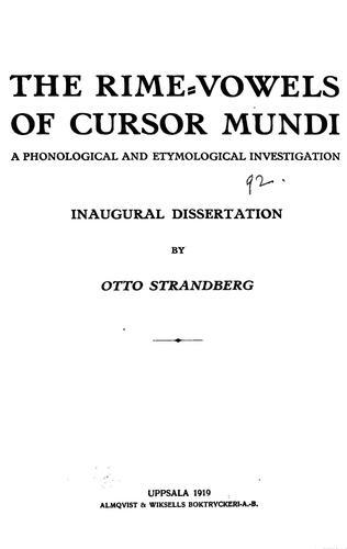 The rime-vowels of Cursor mundi