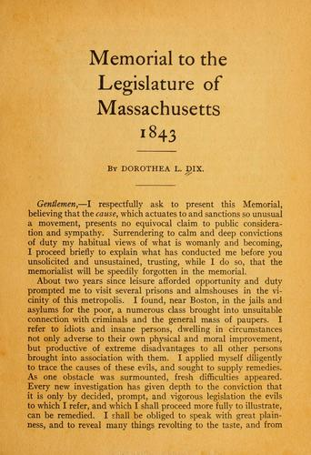 Download Memorial to the legislature of Massachusetts, 1843.