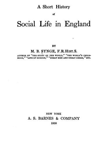 Download A short history of social life in England