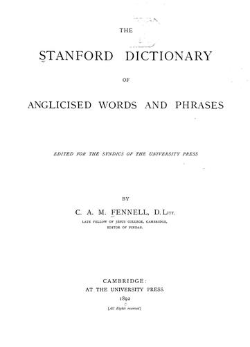Download The Stanford dictionary of anglicised words and phrases