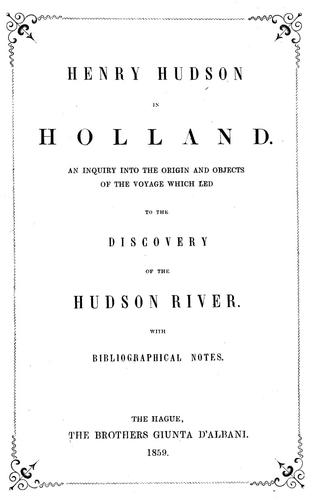 Download Henry Hudson in Holland.