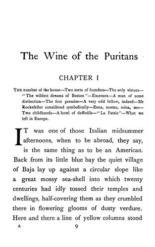 The wine of the Puritans