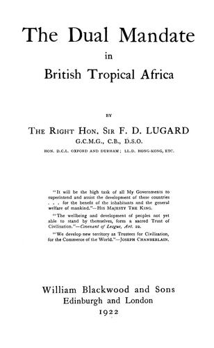 The dual mandate in British tropical Africa