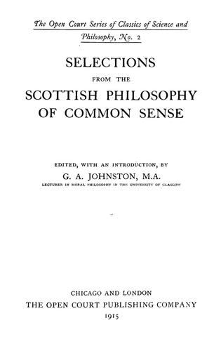 Download Selections from the Scottish philosophy of common sense.
