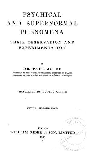 Download Psychical and supernormal phenomena