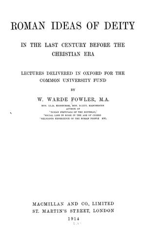 Download Roman ideas of deity in the last century before the Christian era