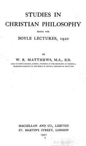Studies in Christian philosophy.