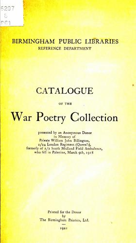 Catalogue of the war poetry collection.