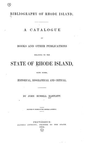 Download Bibliography of Rhode Island.