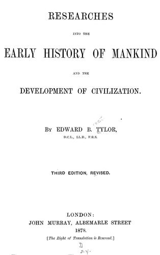 Download Researches into the early history of mankind and the development of civilization