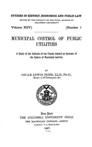 Municipal control of public utilities