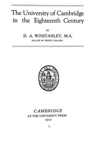 Download The University of Cambridge in the eighteenth century