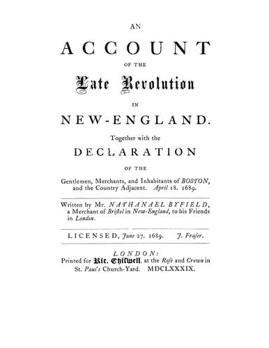 Download An account of the late revolution in New England.
