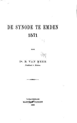 De Synode te Emden, 1571