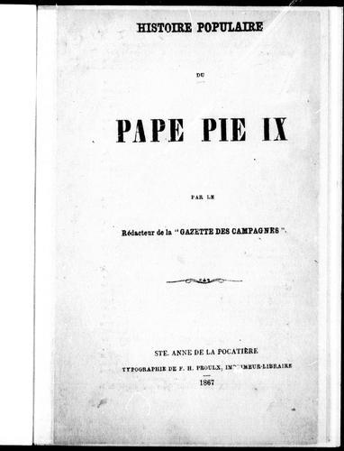 Download Histoire populaire du Pape Pie IX